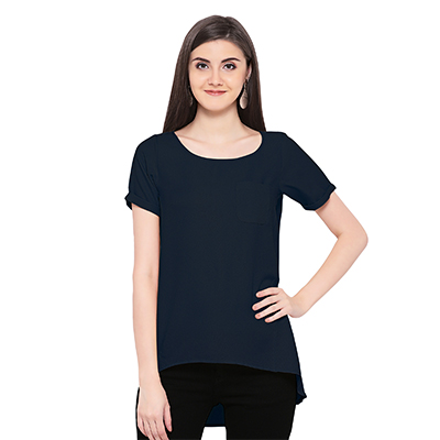 Solid Navy High Low Casual Wear Moss Georgette Top