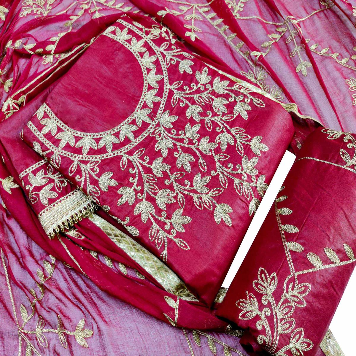 IRIS - Maroon Colored Partywear Embroidered Cotton Dress Material