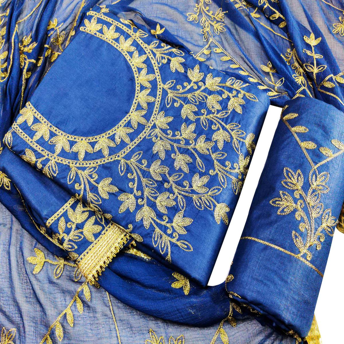 IRIS - Blue Colored Partywear Embroidered Cotton Dress Material