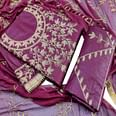 IRIS - Purple Colored Partywear Embroidered Cotton Dress Material