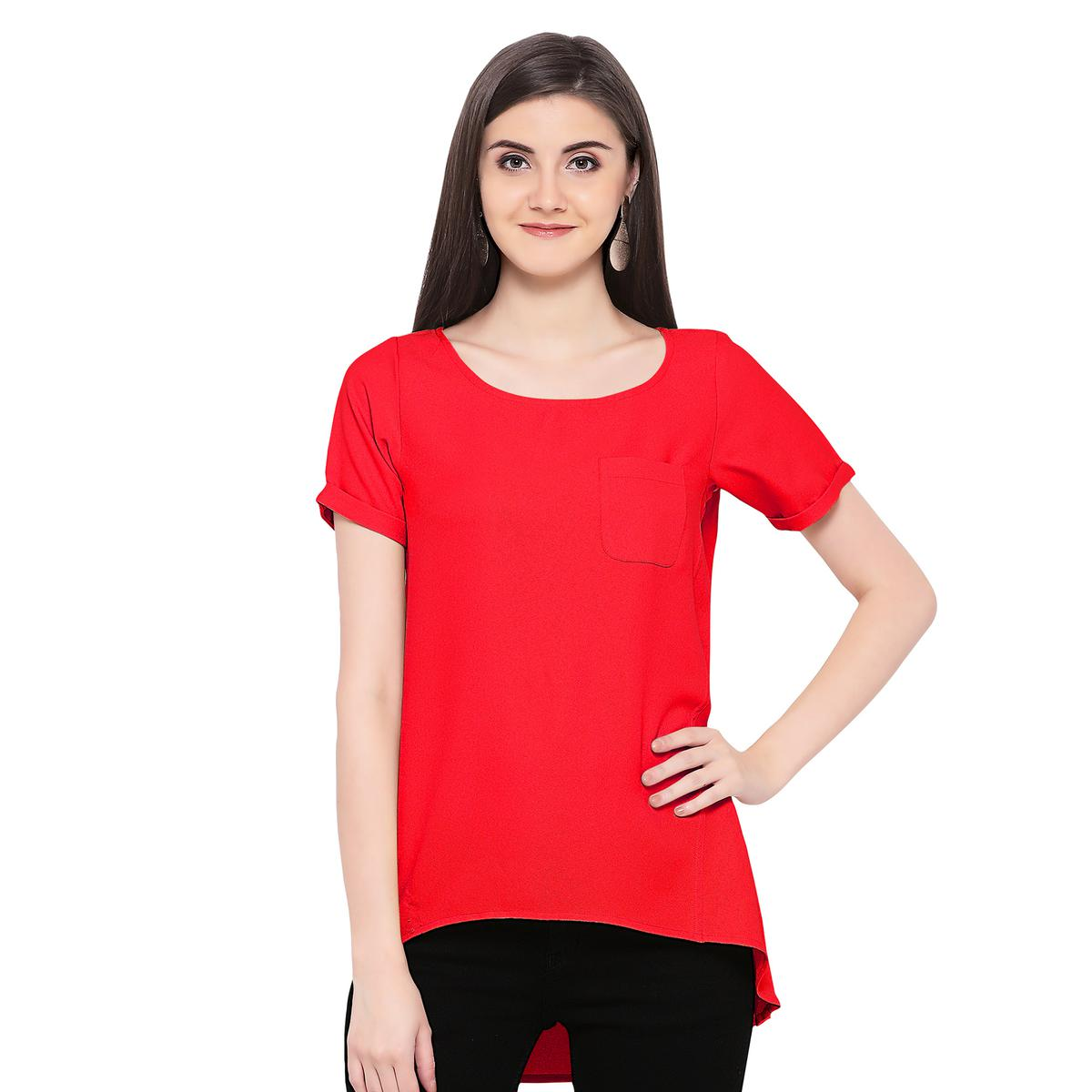 Solid Red High Low Casual Wear Moss Georgette Top