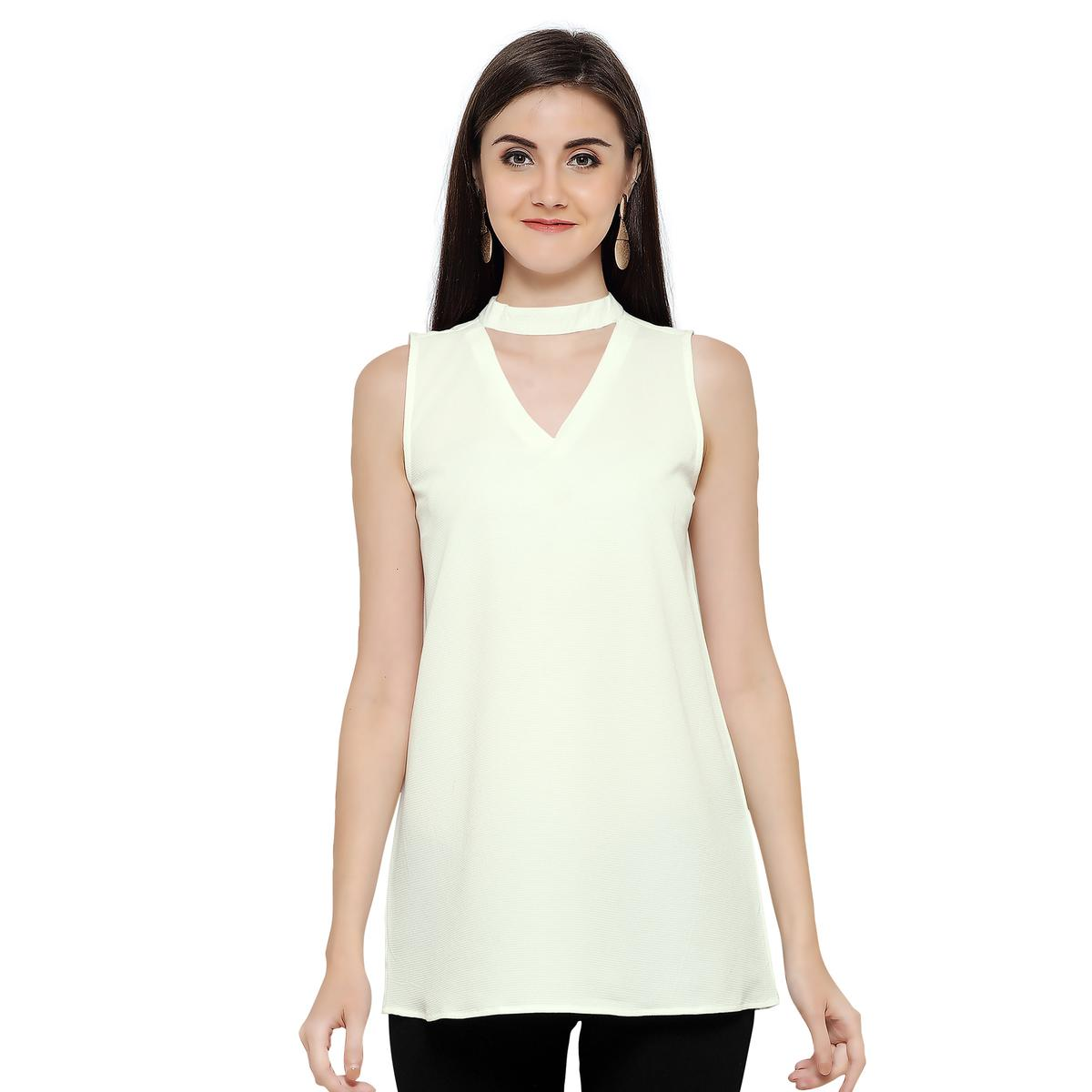 Stylish Off-White Casual Georgette Top