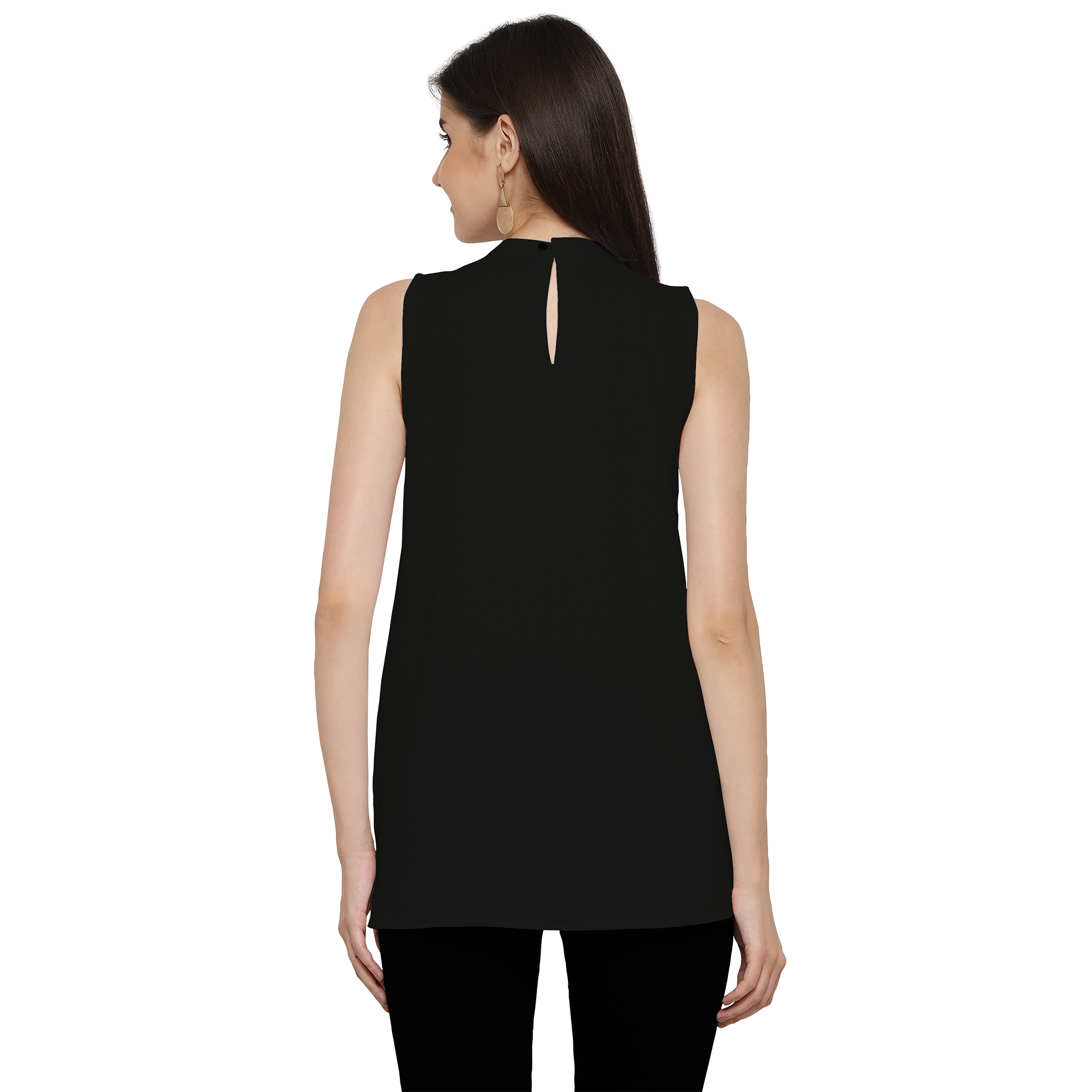 Stylish Black Casual Georgette Top
