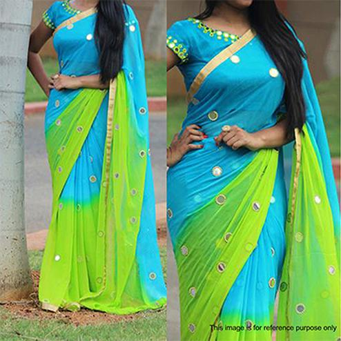 Blue - Green Party Wear Georgette Saree