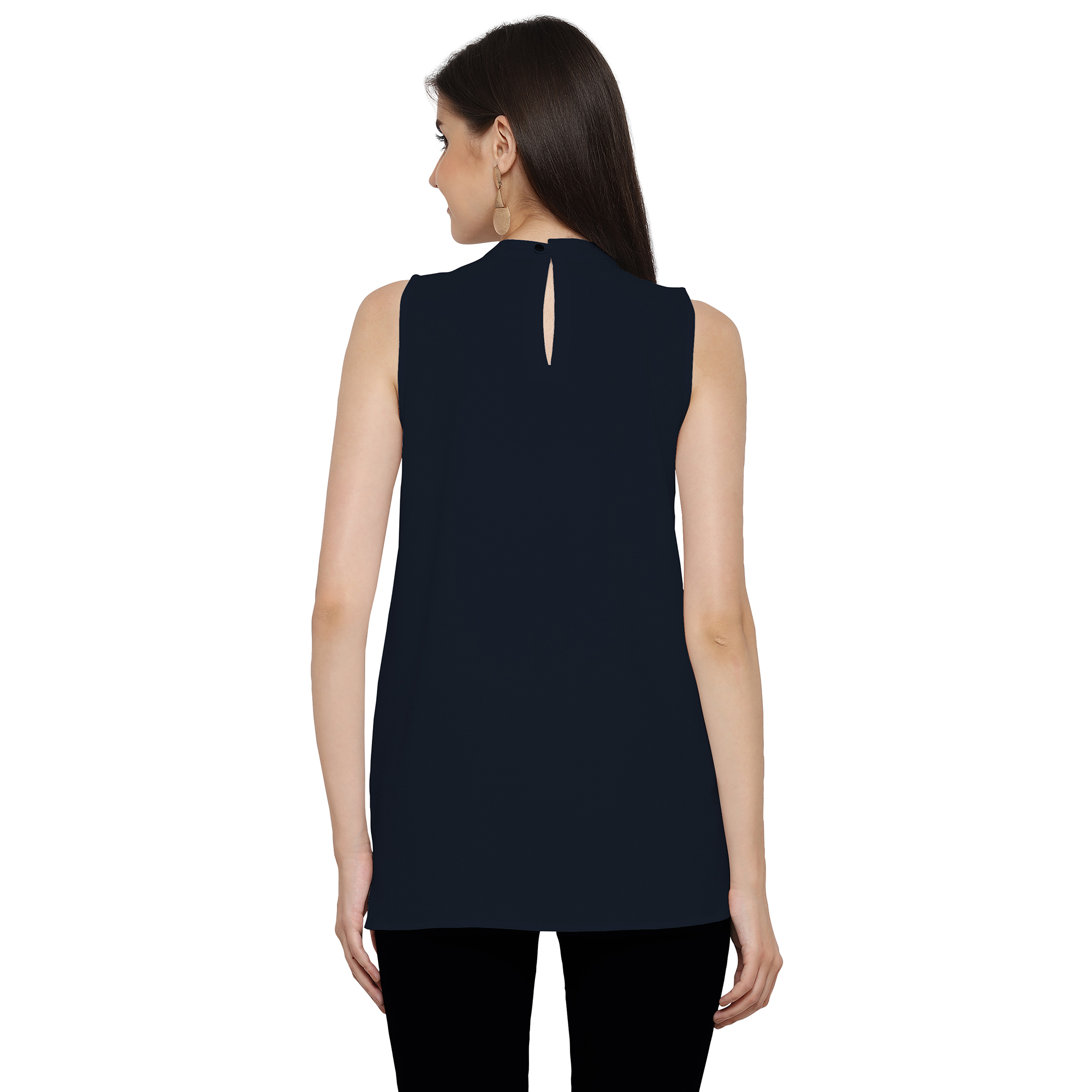 Stylish Navy Casual Georgette Top