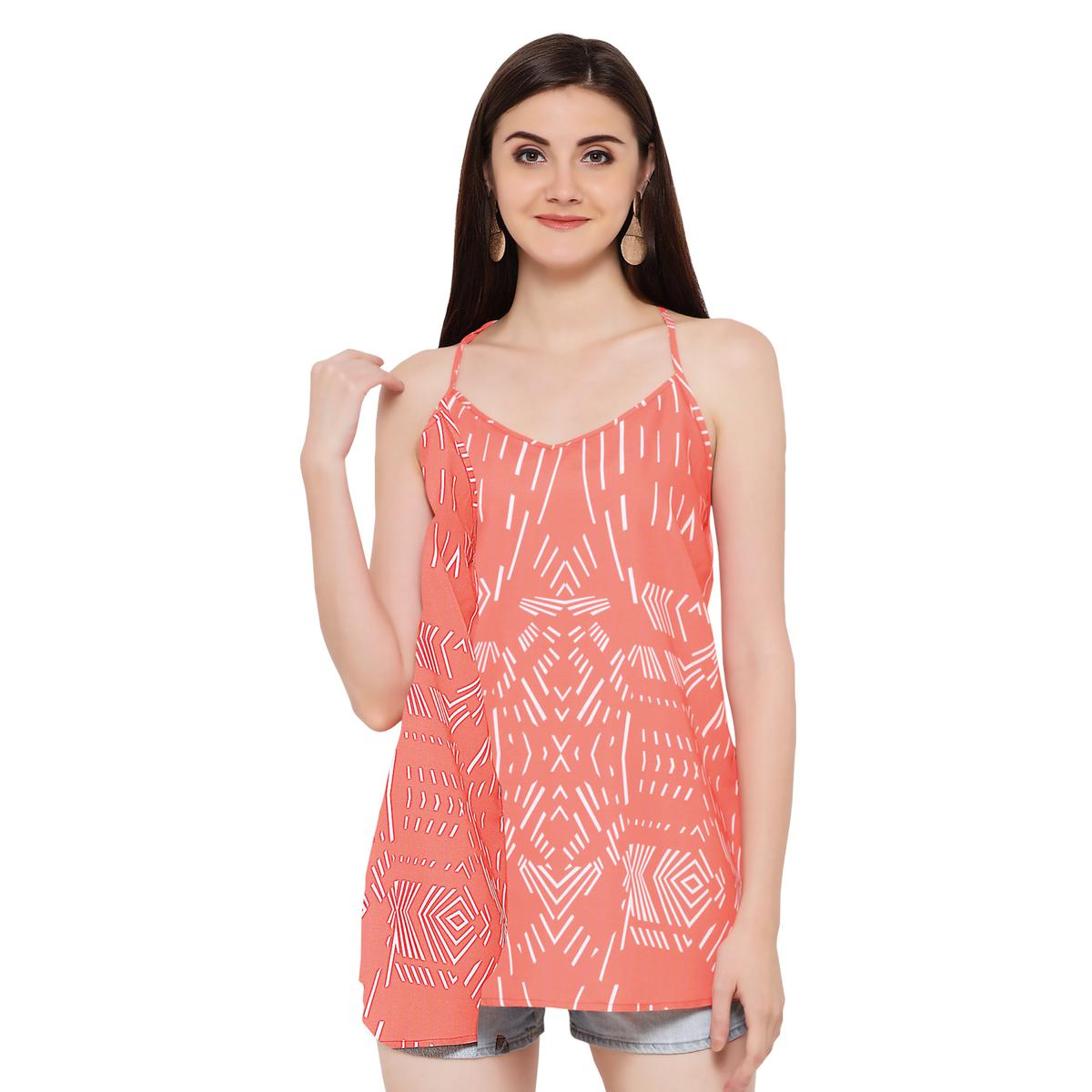 Gorgeous Peach Printed Casual Rayon T-Back Top