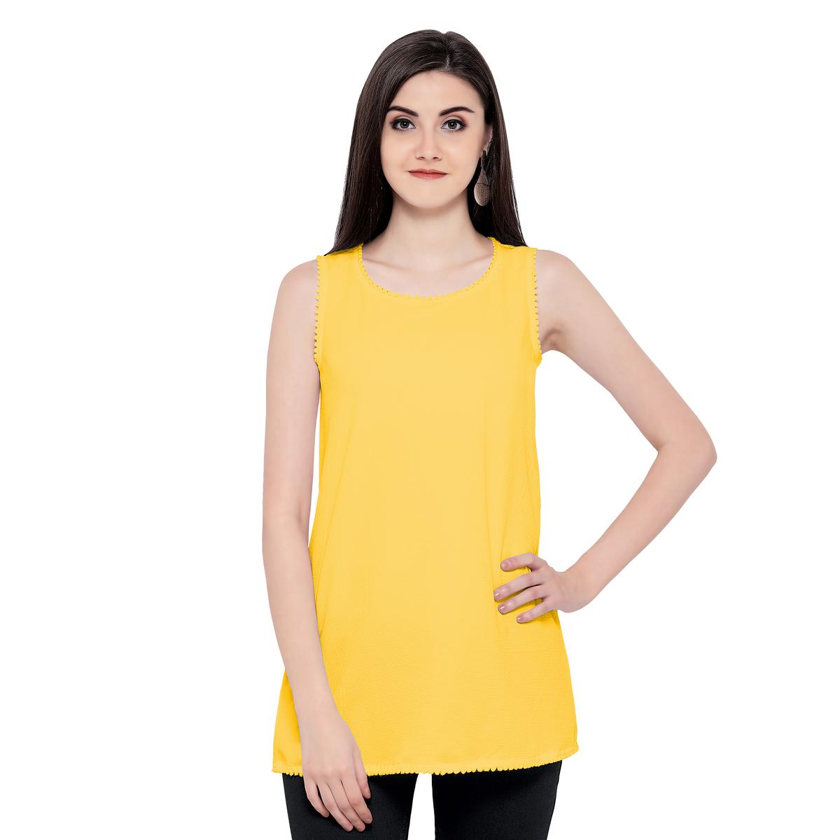 Cool Yellow Sleevless Casual Georgette Top