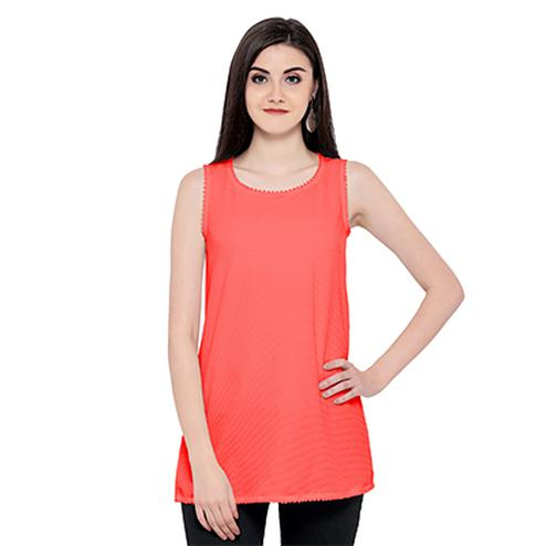 Cool Peach Sleevless Casual Georgette Top