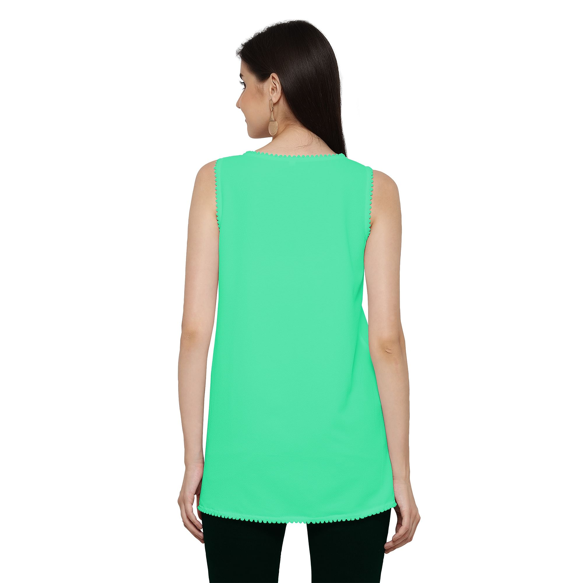 Cool Green Sleevless Casual Georgette Top