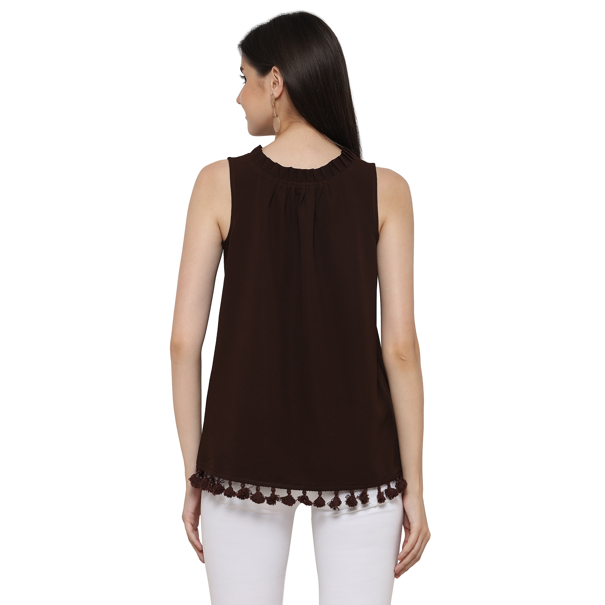 Lovely Brown Sleevless Casual Georgette Top