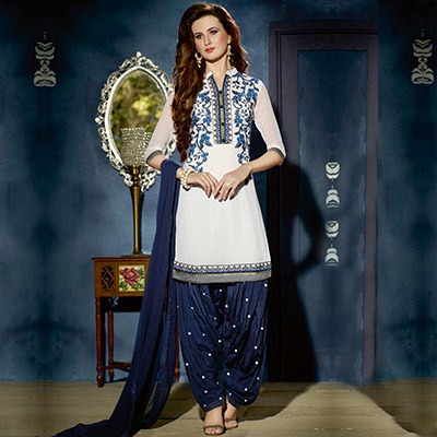 Classic White - Navy Blue Georgette Patiala Suit