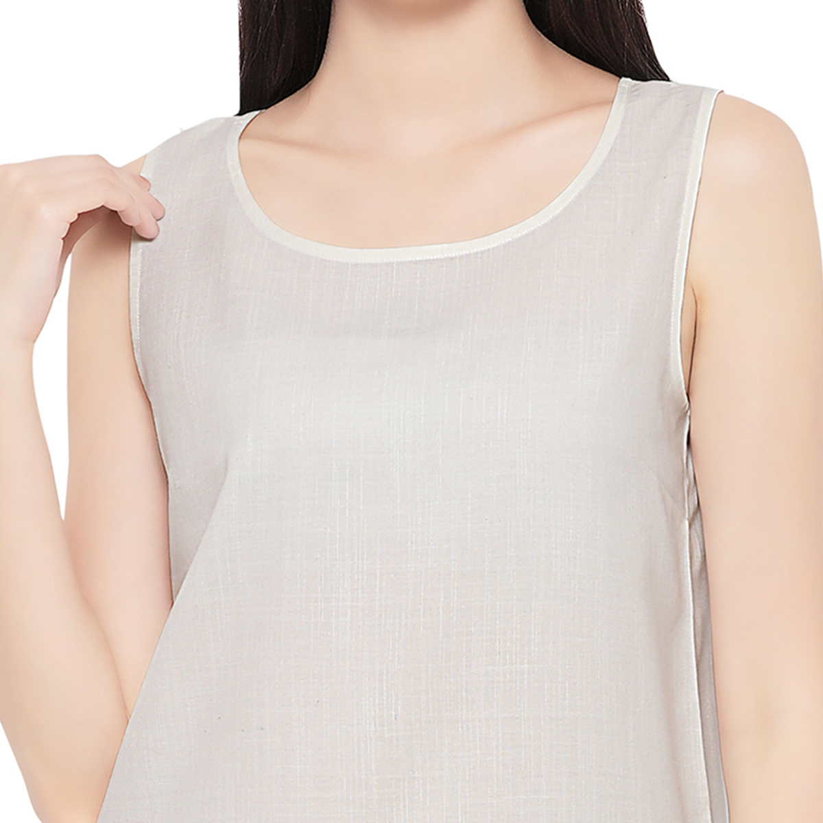 Trendy Gray Sleevless Casual Cotton Top
