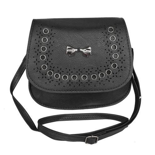 NFI essentials - Girl's Leatherette Sling Cross Body Hand Bag with Bow (Black)