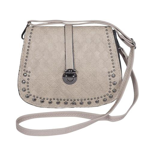 NFI essentials - Girl's Leatherette Sling Cross Body Hand Bag with Beads (Khaki)