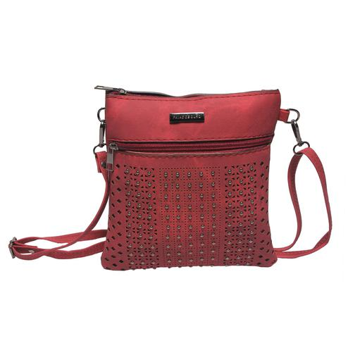 NFI essentials - Sling Cross Body Hand Bag with Cut works and Beads (Red)