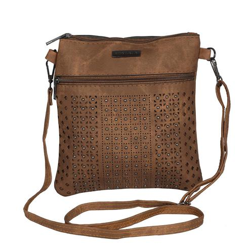 NFI essentials - Sling Cross Body Hand Bag with Cut works and Beads (Brown)