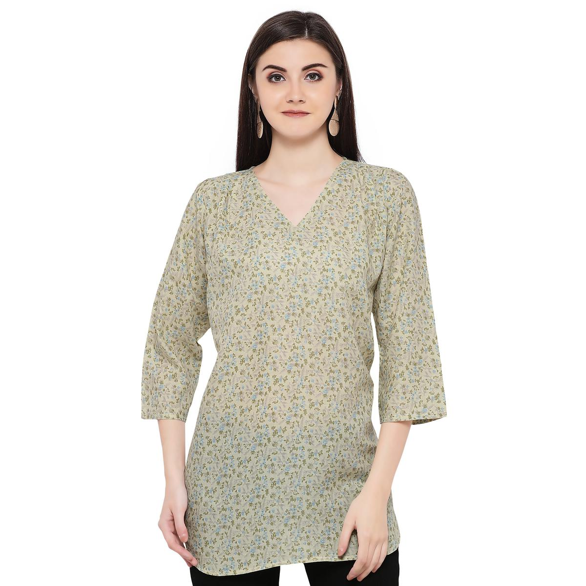 Casual Green Printed Cotton Top