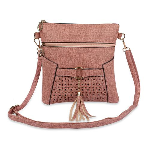 NFI essentials - Sling Cross Body Hand Bag with Cut works and Tassel (Pink)