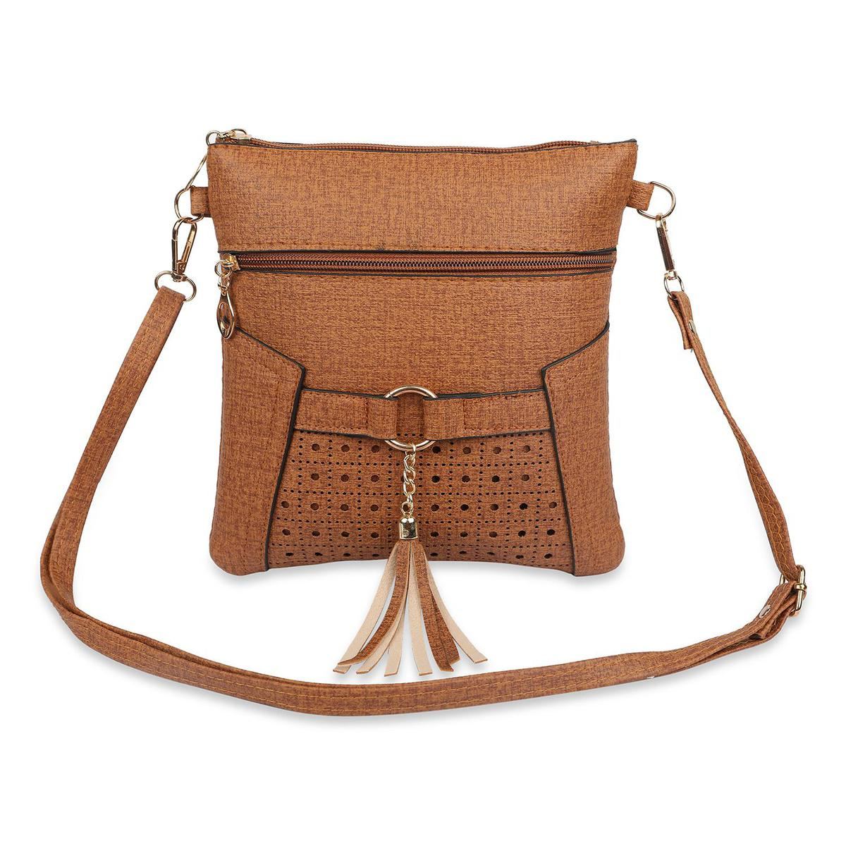 NFI essentials - Sling Cross Body Hand Bag with Cut works and Tassel (Brown)