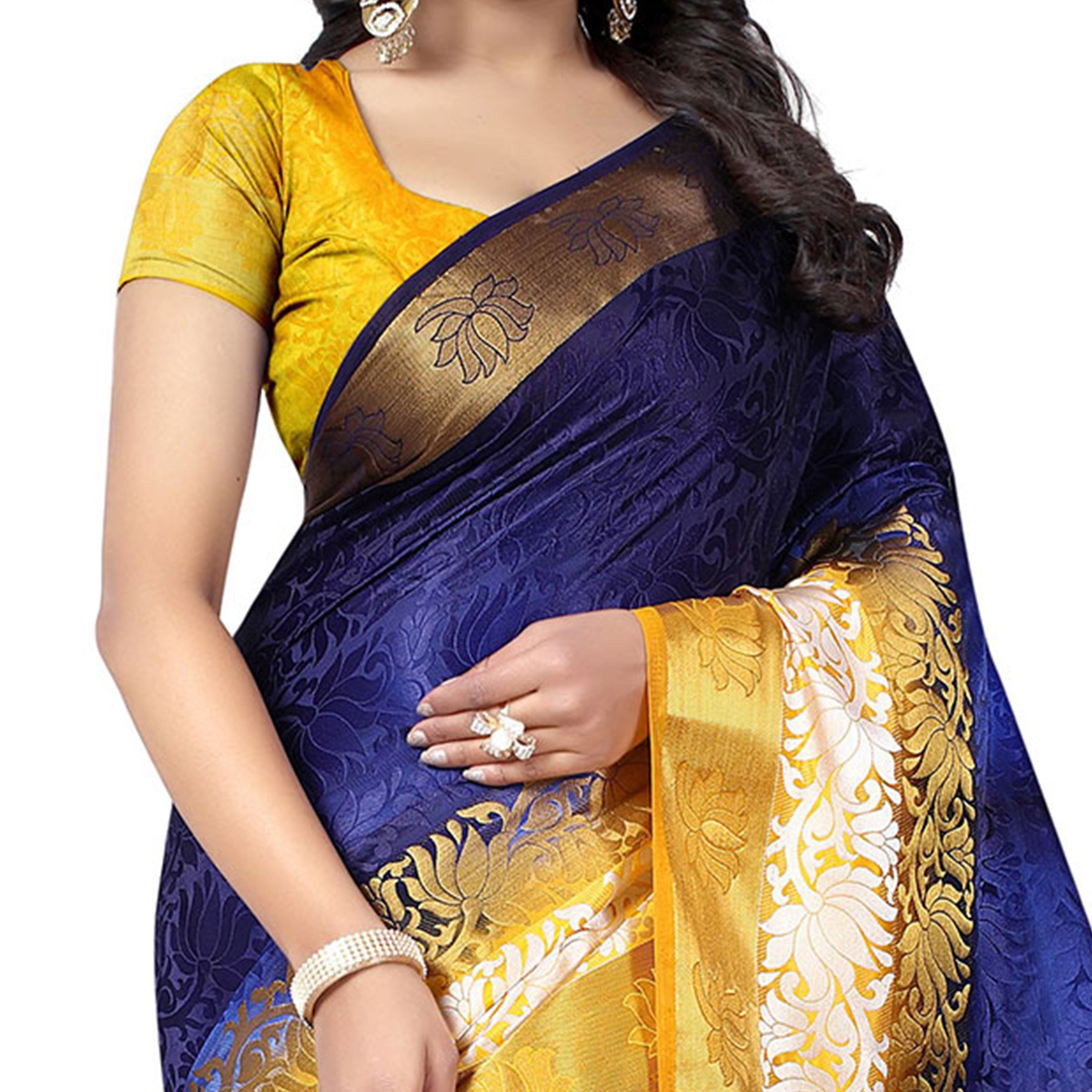 Adorable Dark Blue Festive Wear Silk Woven Saree