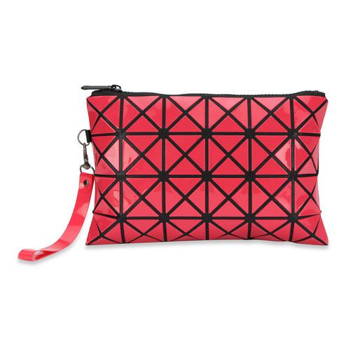 NFI essentials Geometric Design Makeup Pouch for Women Stylish | Pouch for Makeup accessories | Travel Organiser | Cosmetic Pouches | Make up pouch for girls | Makeup bag | Vanity Bag (Red)