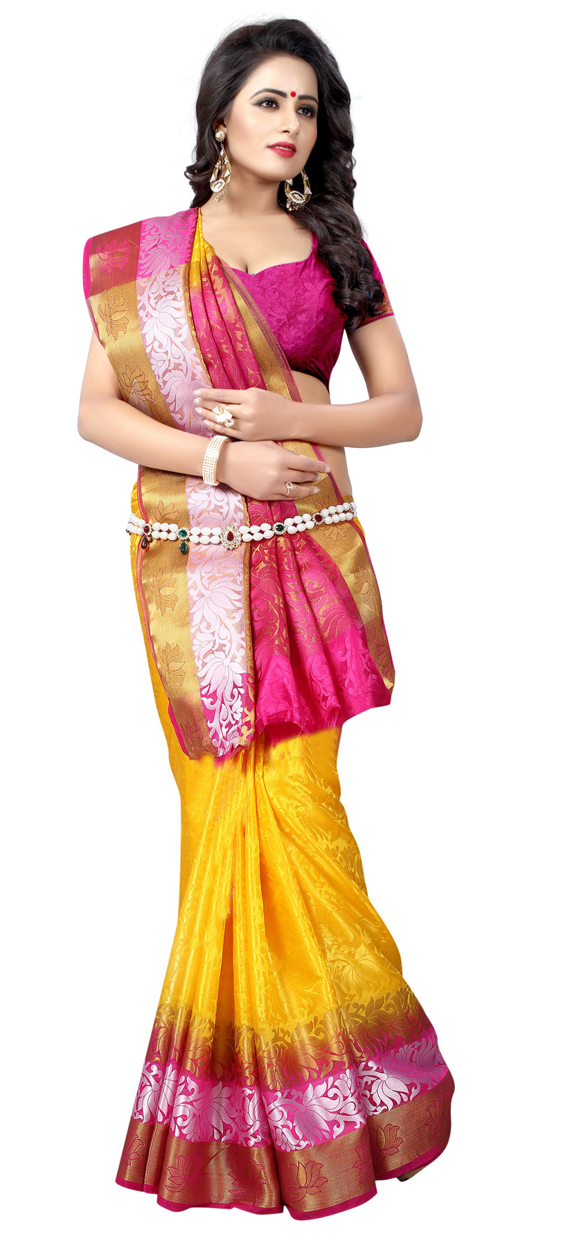 Beautiful Mustard Yellow Festive Wear Silk Woven Saree