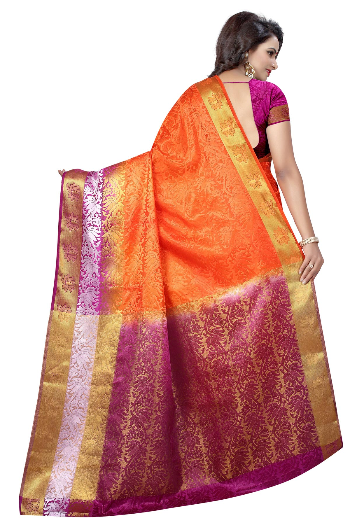 Stunning Orange Festive Wear Silk Woven Saree