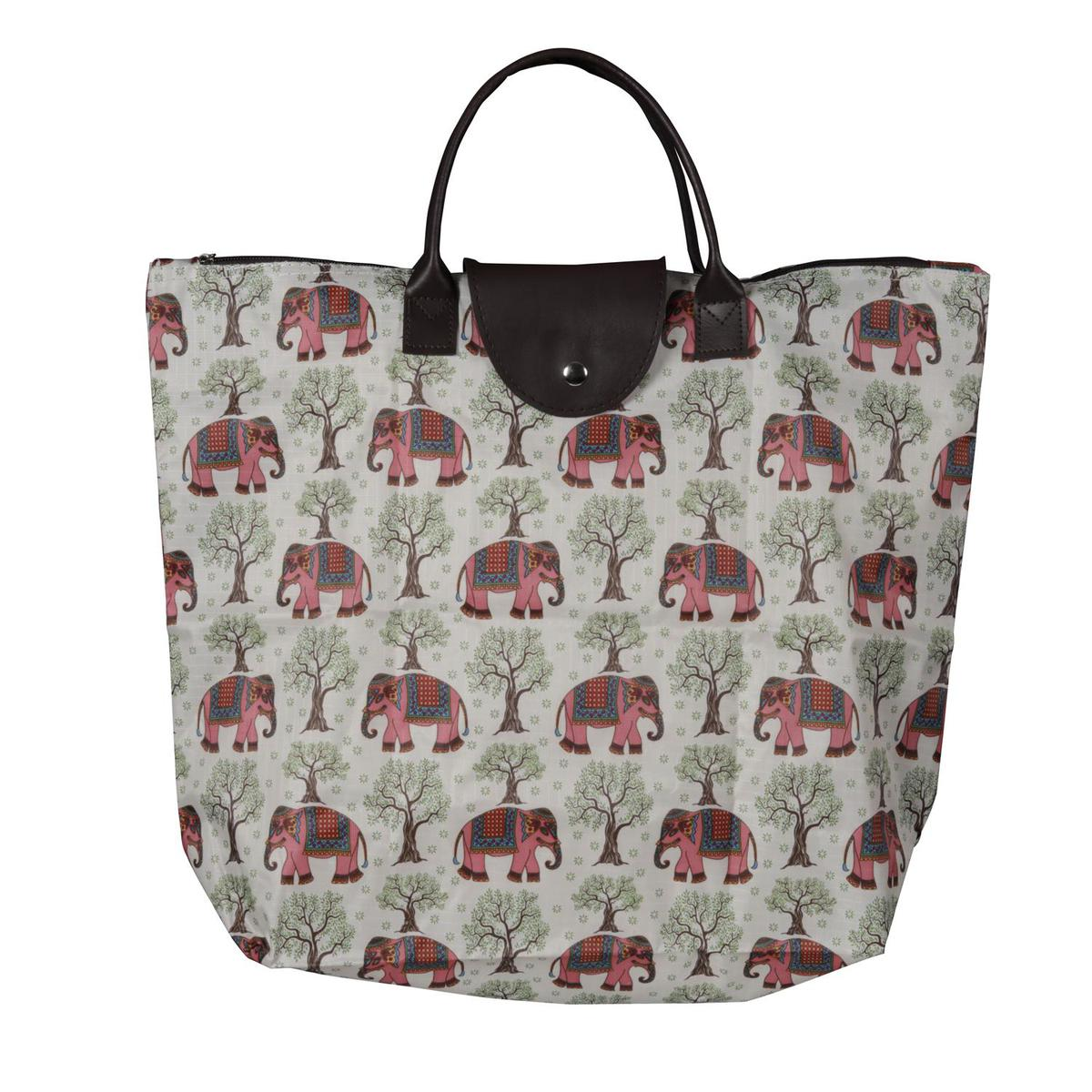 NFI essentials - Foldable Polyester Blend Printed Shopping Bag (Green-Pink)