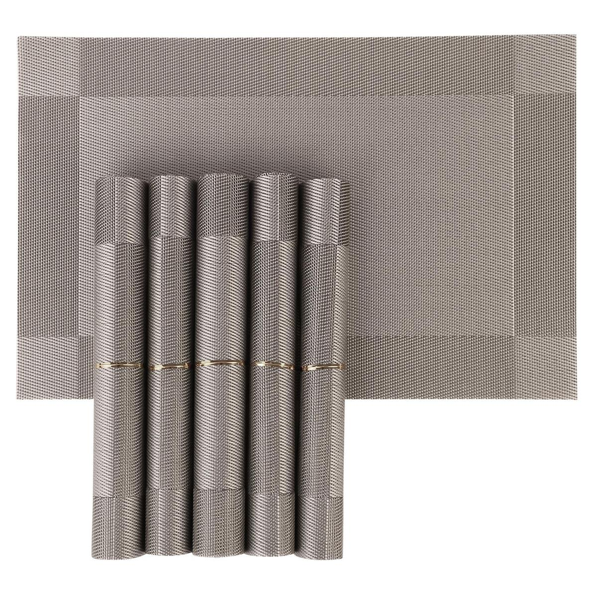 NFI essentials - PVC Dining Table Kitchen Placemats Set of 6 Mat (Silver)