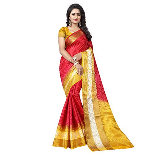Adorable Red Festive Wear Silk Woven Saree
