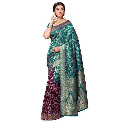 Imposing Turquoise Blue-Purple Colored Festive Wear Woven Cotton-Art Silk Half-Half Saree