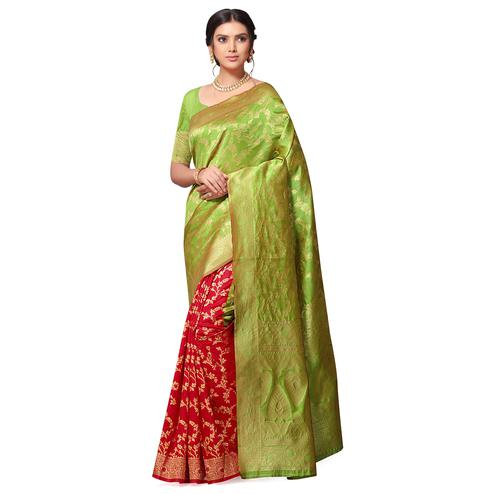Lovely Green-Red Colored Festive Wear Woven Cotton-Art Silk Half-Half Saree