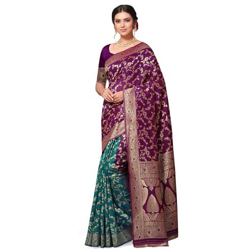 Majesty Purple-Turquoise Blue Colored Festive Wear Woven Cotton-Art Silk Half-Half Saree