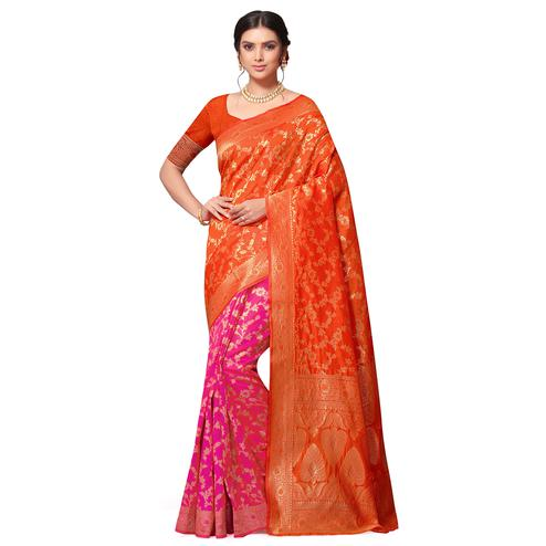 Mesmerising Orange-Pink Colored Festive Wear Woven Cotton-Art Silk Half-Half Saree