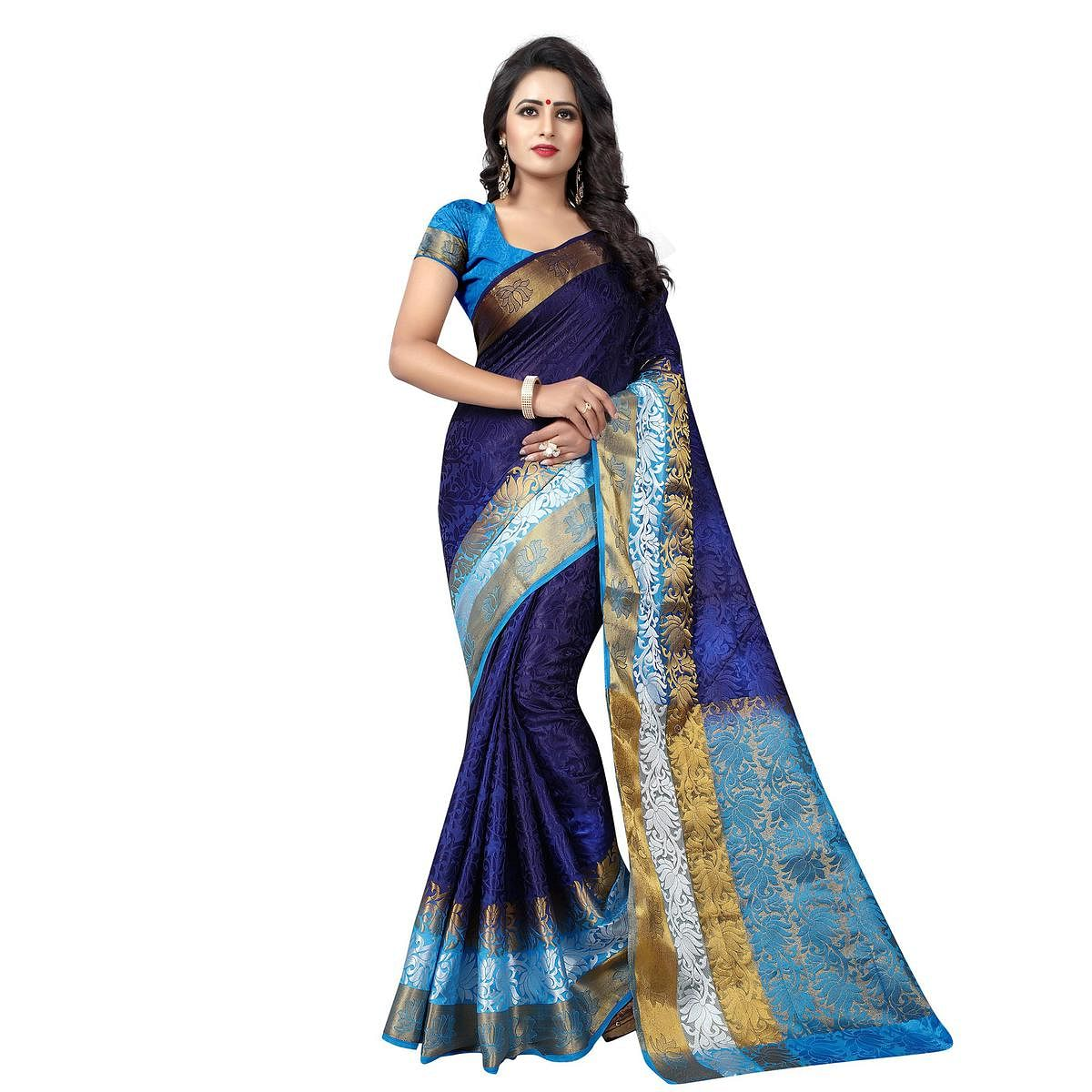 Lovely Navy Blue Festive Wear Silk Woven Saree