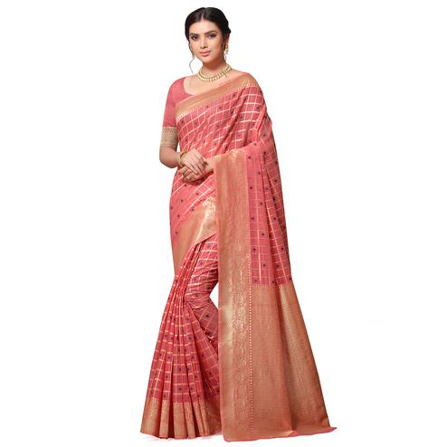 Fantastic Peach Colored Festive Wear Woven Cotton-Art Silk Saree