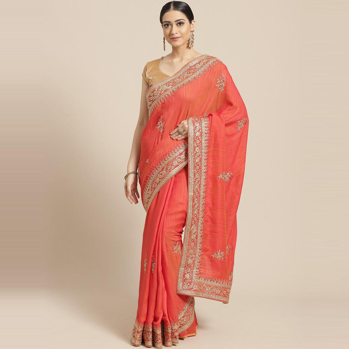 Pache Women's Orange Floral Embroidered Silk Georgette Saree With Unstitched Blouse Piece