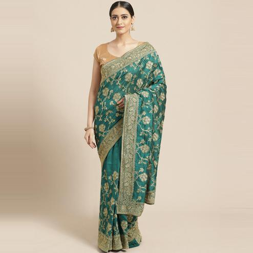 Pache Women's Teal Floral Embroidered Silk Georgette Saree With Unstitched Blouse Piece