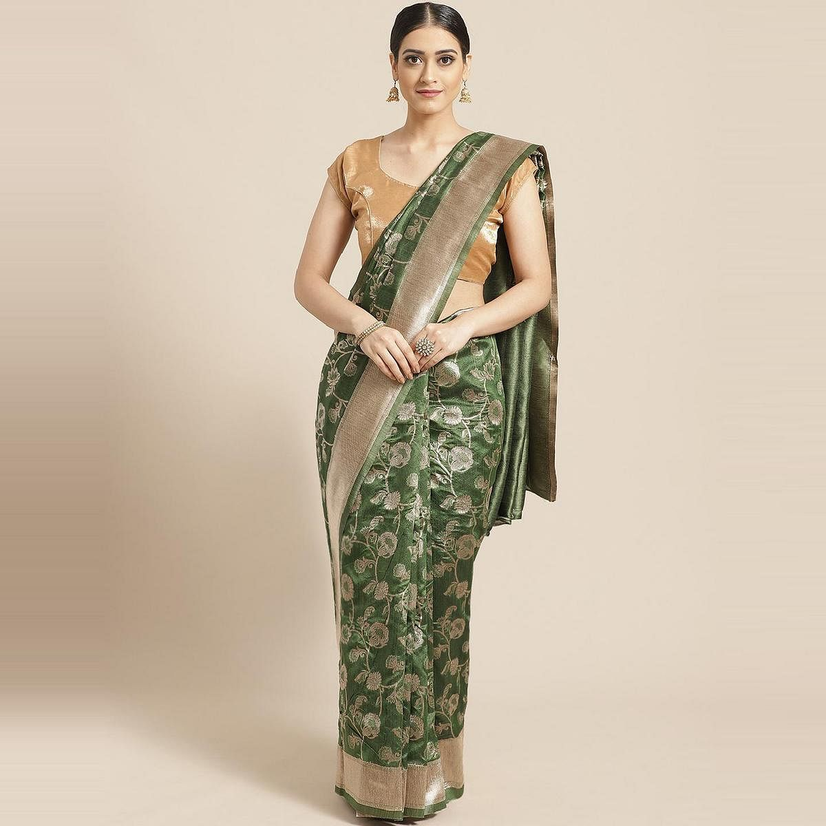 Pache Women's Green Floral Woven Design Art Silk Banarasi Saree With Unstitched Blouse Piece