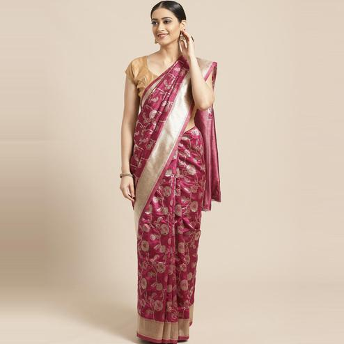 Pache Women's Purple Floral Woven Design Art Silk Banarasi Saree With Unstitched Blouse Piece