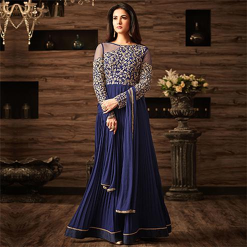 Mesmerising Blue Designer Embroidered Anarkali Suit