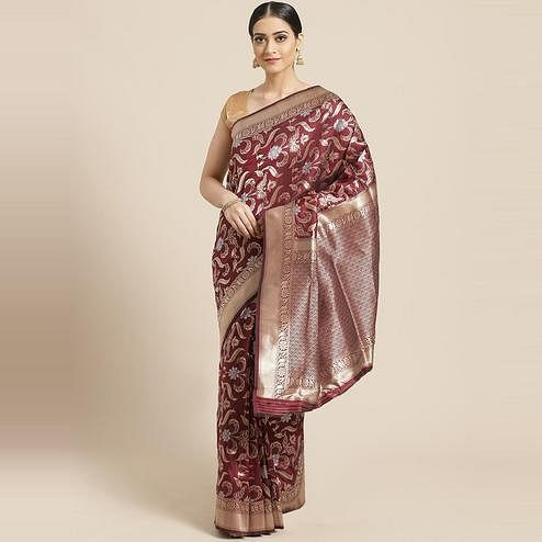 Pache Women's Maroon Floral Woven Design Art Silk Banarasi Saree With Unstitched Blouse Piece