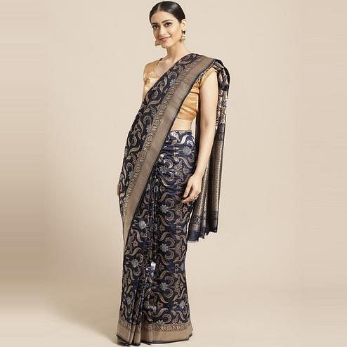 Pache Women's Navy Blue Floral Woven Design Art Silk Banarasi Saree With Unstitched Blouse Piece