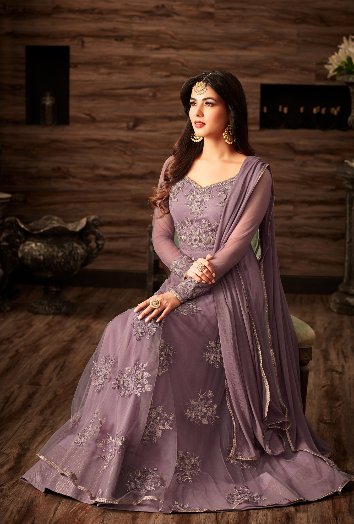 Lovely Lilac Designer Embroidered Anarkali Suit