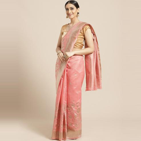 Pache Women's Peach Floral Woven Design Art Silk Banarasi Saree With Unstitched Blouse Piece
