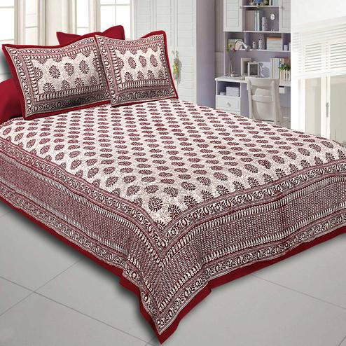 Maroon Color  Base Kerry Pattern Hand Block Print Super Fine Cotton Double Bed Sheet With 2 Pillow Cover