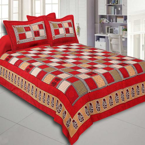 Maroon Colored Border Multi Colour Checkered Super Fine Cotton Double Bed Sheet With 2 Pillow Cover