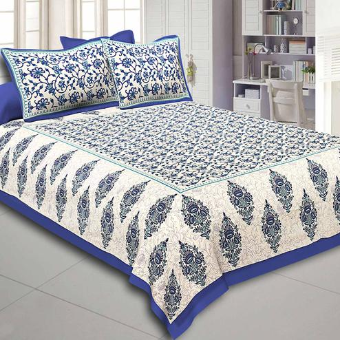 Blue Colored Border Tropical Keri Design Cotton Double Bed Sheet With 2 Pillow Cover