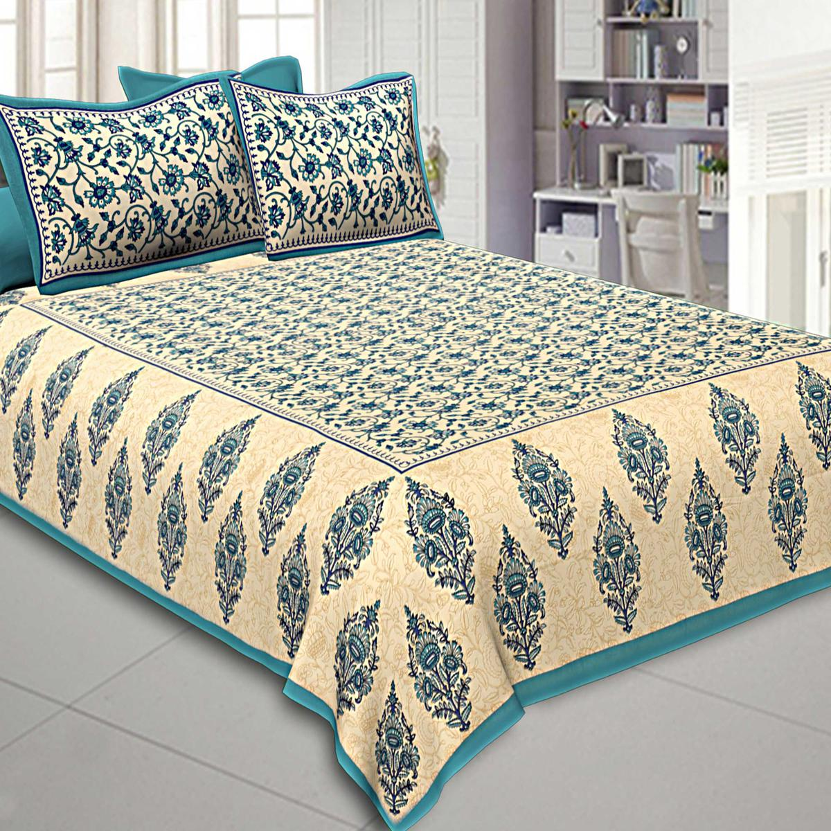 Sea Green Colored Border Tropical Keri Design Cotton Double Bed Sheet With 2 Pillow Cover