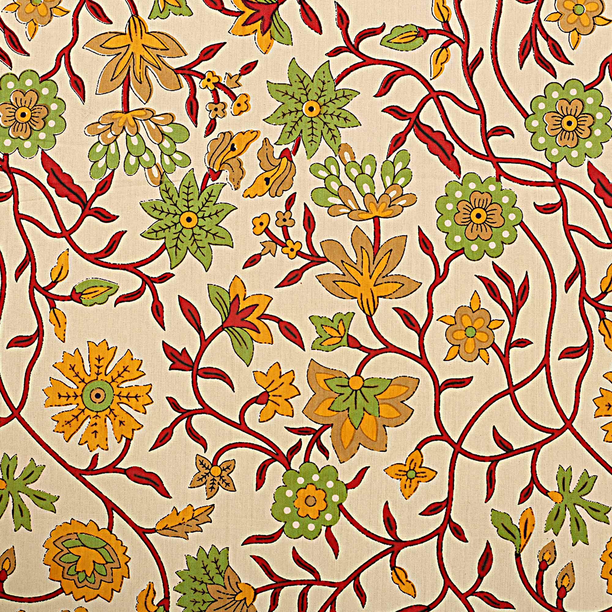 Cream-Yellow Colored Yellow Branch Of Pomegranate Cotton Double Bed Sheet With 2 Pillow Cover